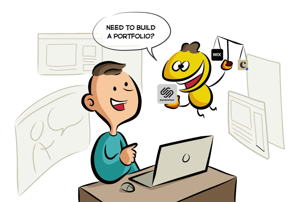 Squarespace vs Wix Portfolio Illustration